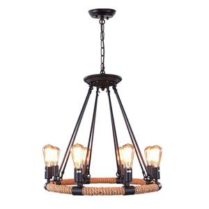 Vintage Rope Chandeliers 8-light Lámpara de iluminación colgante Edison Bulb Light Loft Retro Lámpara industrial para dormitorio de cocina