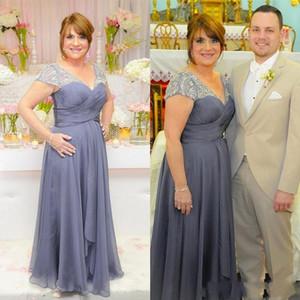 신부 드레스의 플러스 크기 어머니 V 넥 짧은 정장 쉬폰 어머니 드레스와 긴 공식적인 이브닝 드레스