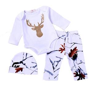 Kindjungenmädchenausstattungsbaby Weihnachtsrotwild drucken Spielanzug + pants + hat 3pcs / set 2018 Herbstkinderweihnachtskleidungs-Sätze C4669