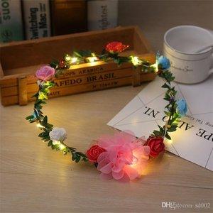 LED Blinkkranz Mädchen Strand Reise Stirnband Rattan Glow Garland Hochzeit Braut Brautjungfer Floral Crown Party Dekorationen 6 5bz ZZ