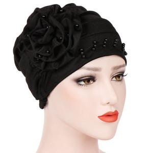 Femmes musulmanes Fleur Ruffle Turban bandeau Head Wrap Cap Chemo Hat Ruffle Cancer Perle Perle Beanie Écharpe