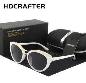 HDCRAFTER новая мода Кошачий глаз Солнцезащитные очки Женщины белая рамка градиент поляризованных солнцезащитных очков вождения UV400 очки