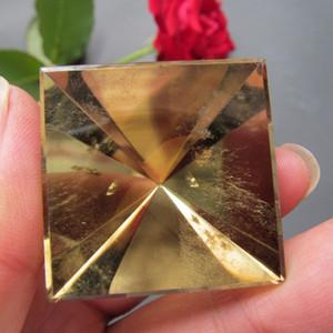 33 * 35mm Citrine crépus jaune naturel Pyramide à points simple poli