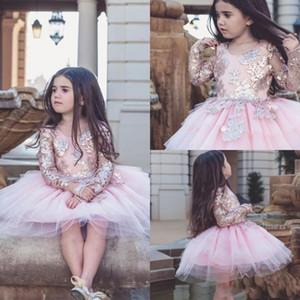 2018 베이비 핑크 Dollcake Appliqued Flower Girl Dresses 결혼식을위한 긴 소매 키즈 미장원의 드레스 무릎 길이의 Tulle Party Communion Dress