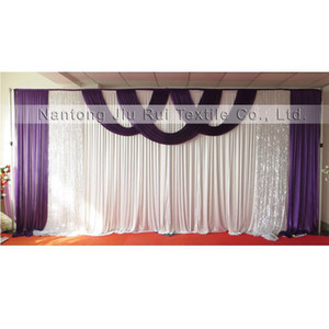 New Design Hot Sale 3mx6m Ice Silk & Silver Sequin Swags Drapes Wedding Backdrop Curtain 1PCS With Free Shipping Price