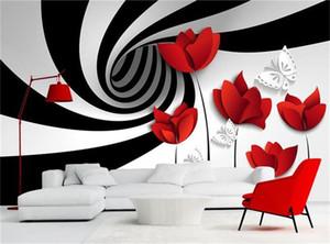 Personnalisé photo 3d papier peint non-tissé mural noir blanc rayures fleurs décoration peinture 3d peintures murales papier peint pour les murs 3d