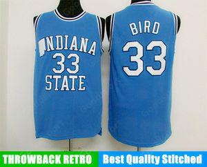 Chaud Indiana State College NCAA cousu 33 Larry Bird cousu broderie Swingman Jerseys Shirts Jersey Shirts bon marché Sport Basketball Retro US Top