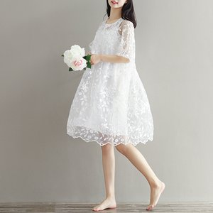 Annelik giyim yaz twinset dantel analık tek parça elbise beyaz nakış hamile elbisesi Hamile