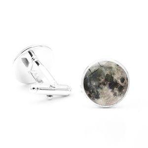 Hot! 20 Paar Galaxy Vollmond Planeten Foto Silber Manschettenknöpfe Qualität Modeschmuck Glaskuppel Hemd Manschettenknöpfe für Herren Manschettenknöpfe
