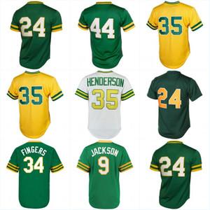 Homens 24 Rickey Henderson 9 Reggie Jackson 34 Dedos Rollie 35 Rickey Henderson 44 Reggie Jackson Camisas De Beisebol