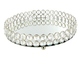 Miroir Bling Bling Perles de cristal en cristal clair Plateau de vanité rond en argent