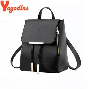 Yogodlns Simple Style Backpack for Women PU Leather Backpacks For Teenage Girls School Bags Fashion Shoulder Bag High Quality