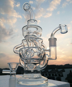 Vortex Glass Bong Recycler Oil Rig wax water pipe heady Klein bongs dab rigs pipes with bowl quartz banger or buy smoking accessories