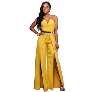 2018 Hollow Long Bodysuit Fashion Women zipper Jumpsuit Romper Sexy Wrap the chest Wide leg Jumpsuit party elegant Wide Leg Pant body femme