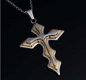 Joli pendentif croix Collier Vintage classique Punk Collier Déclaration en acier inoxydable Mens longues chaînes Colliers