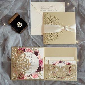 10 pieces Tri-Fold Laser Cutout Flower Invitation Card Set Continental Wedding High-end Postcard