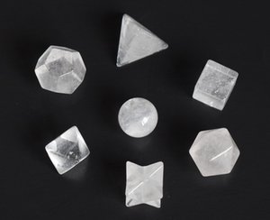 Natural Chakra Clear Quartz Carved Crystal Healing Solidi platonici Simboli di Geometria Sacra con Stella Merkaba