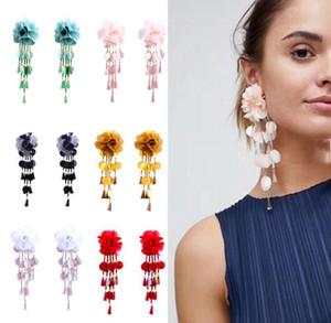 Tela del arte gasa tela grandes pendientes de flores mujeres exagerada cuentas lentejuelas borla del largo pendientes largos para mujeres y niñas