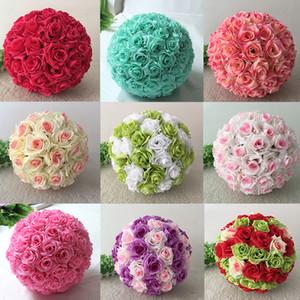 Élégant blanc artificiel Rose Soie Fleur Boule Hanging Balles 30cm 12 Embrasser pouces à billes pour soirée de mariage fournitures de décoration
