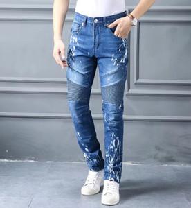 Man Pleated Biker Jeans True Blue Denim Pants Mens Religion Jeans Mens Slim Pencil Pants Plus Size Male Clothes Pants Long Trousers Jeans