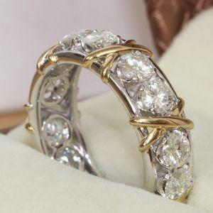 Choucong Joyería Eternidad Piedra Diamante 10KT Blanco Amarillo Lleno de Oro Anillo de Compromiso de Boda de Compromiso de Las Mujeres Sz 5-11