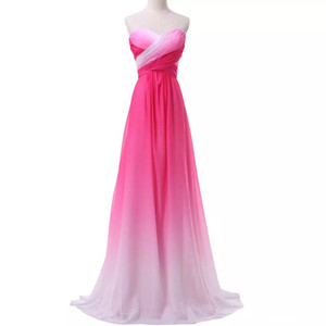 2018 New Sexy Cheap Ombre Long Prom Dresses Chiffon A Line Plus Size Floor-Length Formal Evening Party Celebrity Bridesmaid Gown QC1231