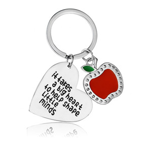 12 Pc/Lot It Takes A Big Heart To Help Shape Little Mind Heart Charm Keychain Women Men Appreciation Gift For Teachers Keyring