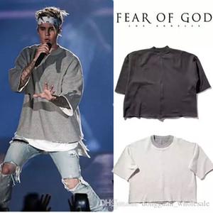 Erkekler Kadınlar Yüksek Kalite Yaz Tarzı Kanye West Justin Bieber Tanrı Of Korku Moda Rahat kısa kollu T-Shirt