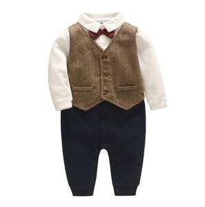 INS 핫 스타일 새 봄 가을 아기 아이 의류 romper 신사 넥타이 디자인 짧은 소매 소년 Romper 우아한 장난 꾸러기 0-2T