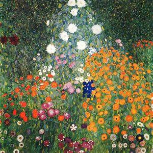 Gerahmte handgemalte klassische abstrakte Kunst Ölgemälde Gustav Klimt - Blumengarten auf Leinwand. Hochwertige Wandkunstausgangsdekor p252