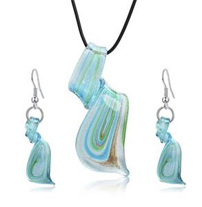 2018 Nouveau Femmes Mode peint verre ensemble Lady Exotique spirale exotique pendentif en verre boucles d'oreilles ensemble de collier