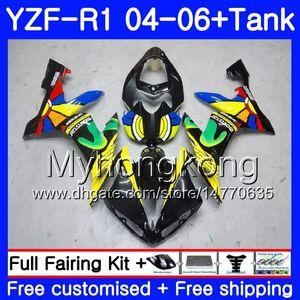 Кузов + Бак для YAMAHA YZF R 1 YZF-1000 YZF 1000 радуга желтый горячий YZFR1 04 05 06 232HM.9 YZF1000 YZF-R1 04 06 YZF R1 2004 2005 2006 Обтекатель