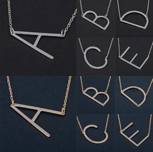 26 Alphabet Englisch Brief Anhänger Dame Metall Halskette A-Z Choker Kette Halsketten Splitter Gold Schmuck Geschenk OOA4421