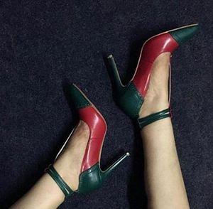 Bahar 2018 Yeni Kadın Seksi Kırmızı Yeşil Patchwork 12 cm veya 10 cm topuk Toka Sivri Burun Parti Pompaları Stiletto Topuk Ayakkabı