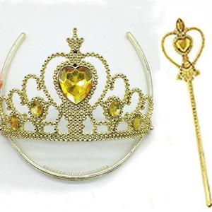 Oro giallo corona Tiara fascia set principessa regina bacchetta magica principessa cosplay strass bacchette per i bambini vestire accessori WX9-649