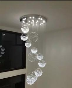 Cristal de haute qualité K9 Grand Plafonnier pour le lobby, escalier d'escalier, longue suspension en spirale du lustre lumière lustre lampe LLF
