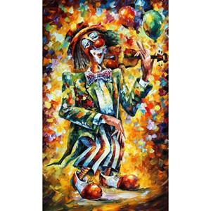 Palet bıçak ile yüksek kalite Soyut Modern resimlerinde yağlıboya Tuval palyaço El Yapımı şekil boyama sanat