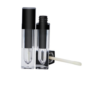 6ML Clear Lip Gloss Tube, Empty Black Lip Gloss Packaging Bottle, forma quadrata, contenitore cosmetico F20171025