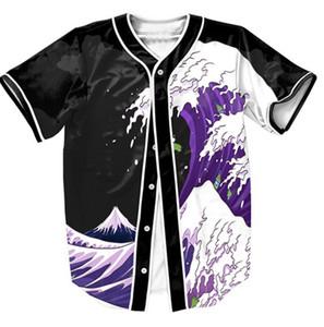 Purple Waves Jersey Short Sleeve Overshirt 3d Shirts Streetwear Hip Hop with Single Breasted Baseball Shirt MEN Summer