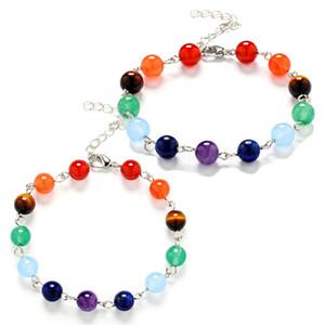 Natural Stone Bracelets 8mm 7 Reiki Chakra Healing Balance Beads Braided Rope Bracelet for Women Stretch Yoga Jewelry
