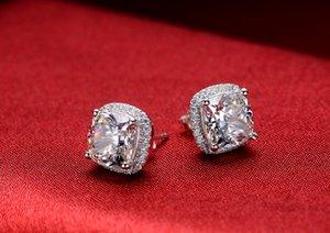 Hakiki 925 Gümüş Küpe 3Ct Yastık Kesim Sentetik Elmas Nişan Damızlık Küpe Kadınlar için 585 Altın Renk Takı Doğum Günü Hediye