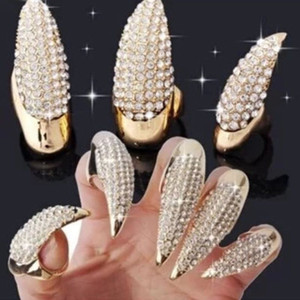 Hot Sale Overstate Full Rhinestone Nail Cover Anelli Punk Cat Demon Sharp Paws Anelli in oro e nero Fingers Joint Rings