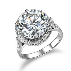 Noble 5 ct lusso SONA sintetico diamante anello di fidanzamento gioielli 925 argento massiccio 18 carati bianco placcato oro anello nuziale per le donne trasporto di goccia