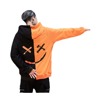 Hip Hop Men Women Smile Face Be Happy Patchwork Hoodie High Street Wear Men Hooded Sweatshirts Oversized Pullovers Tracksuit