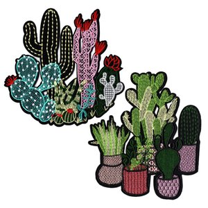 GUGUTREE ricamato patch grande cactus patch cerotti patch applique patch per abbigliamento