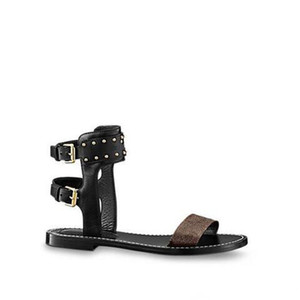 2018 0LV0 Nuevas Mujeres de la Llegada Nomad Sandalia Tobillo Abrigo Negro Oro Zapatos Planos Gladiador 35-41 Con Original Caja de Bolsas de Polvo Diapositiva Mule Sandale