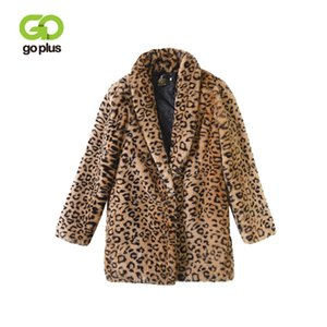 GOPLUS 2018 Inverno Faux Fur Leopardo Casaco Mulheres Sexy V Pescoço Fino Grosso Quente Casacos Longos Elegantes Bolsos Outwear Casaco Feminino