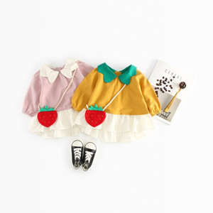 dress + bag 2 color INS style 2018 new girls girls spring nice colour لصق دمية طوق جودة عالية القطن اللباس الشحن مجانا