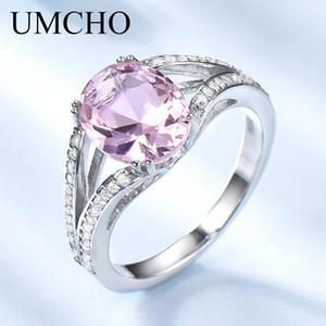 UMCHO Real 925 Sterling Silber Schmuck Erstellt Oval Rosa Turmalin Ringe Hochzeit Band Cocktail Ringe Für Frauen Edlen Schmuck