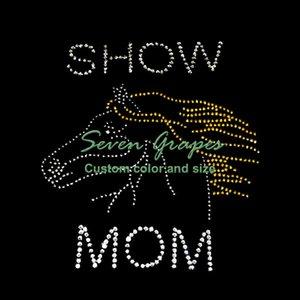 Mostrar Mom Horse Head Rhinestone Motif Transfer para la decoración de la ropa
